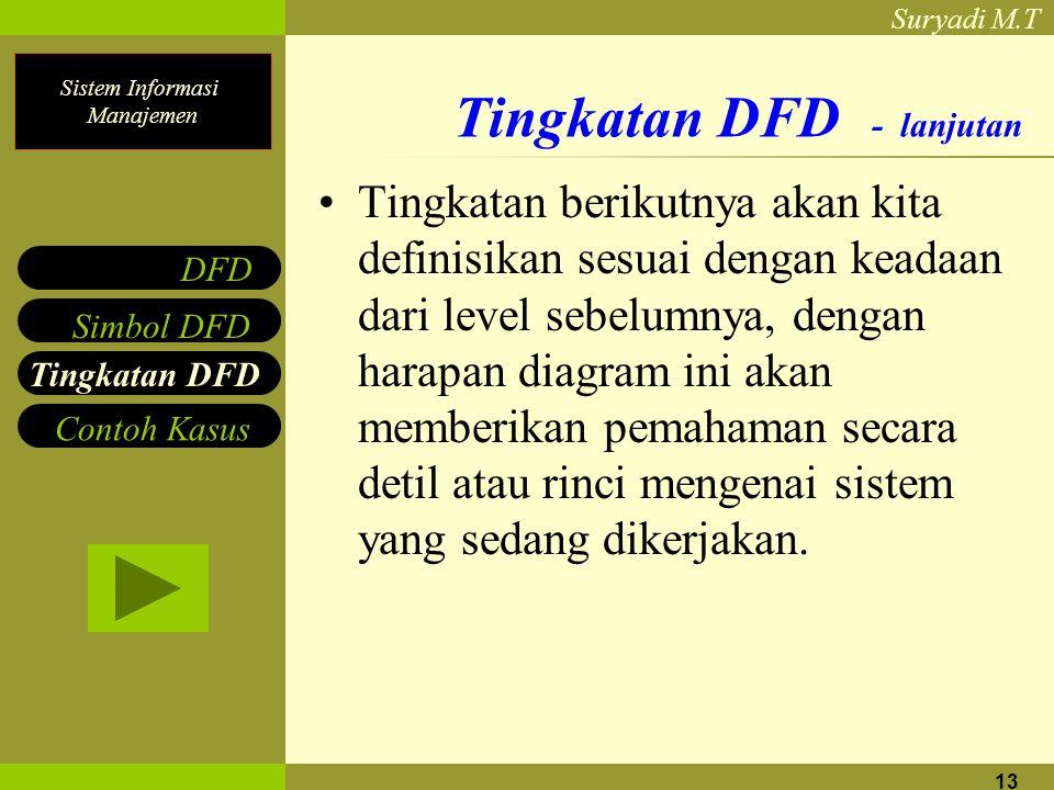 Sistem Informasi Manajemen Suryadi M.T 13 Tingkatan DFD - lanjutan Tingkatan berikutnya akan kita definisikan sesuai dengan keadaan dari level sebelumnya, dengan harapan diagram ini akan memberikan pemahaman secara detil atau rinci mengenai sistem yang sedang dikerjakan.