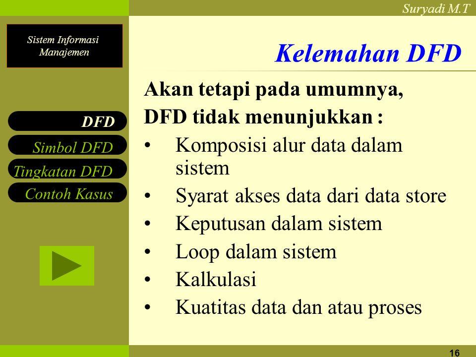 Sistem Informasi Manajemen Suryadi M.T 16 Kelemahan DFD Akan tetapi pada umumnya, DFD tidak menunjukkan : Komposisi alur data dalam sistem Syarat akse