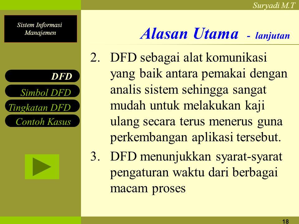 Sistem Informasi Manajemen Suryadi M.T 18 Alasan Utama - lanjutan 2. DFD sebagai alat komunikasi yang baik antara pemakai dengan analis sistem sehingg