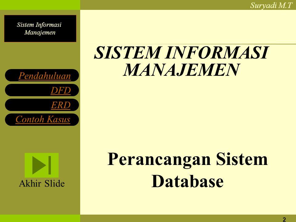 Sistem Informasi Manajemen Suryadi M.T 2 SISTEM INFORMASI MANAJEMEN Perancangan Sistem Database Pendahuluan DFD ERD Contoh Kasus Akhir Slide