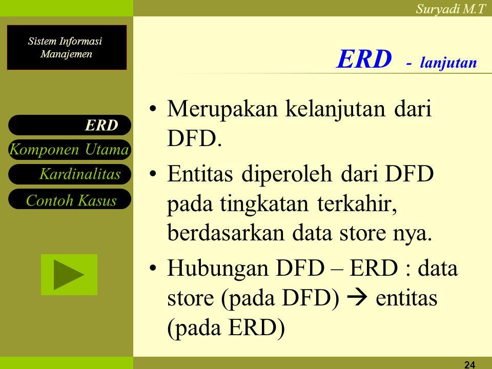 Sistem Informasi Manajemen Suryadi M.T 24 ERD - lanjutan Merupakan kelanjutan dari DFD. Entitas diperoleh dari DFD pada tingkatan terkahir, berdasarka