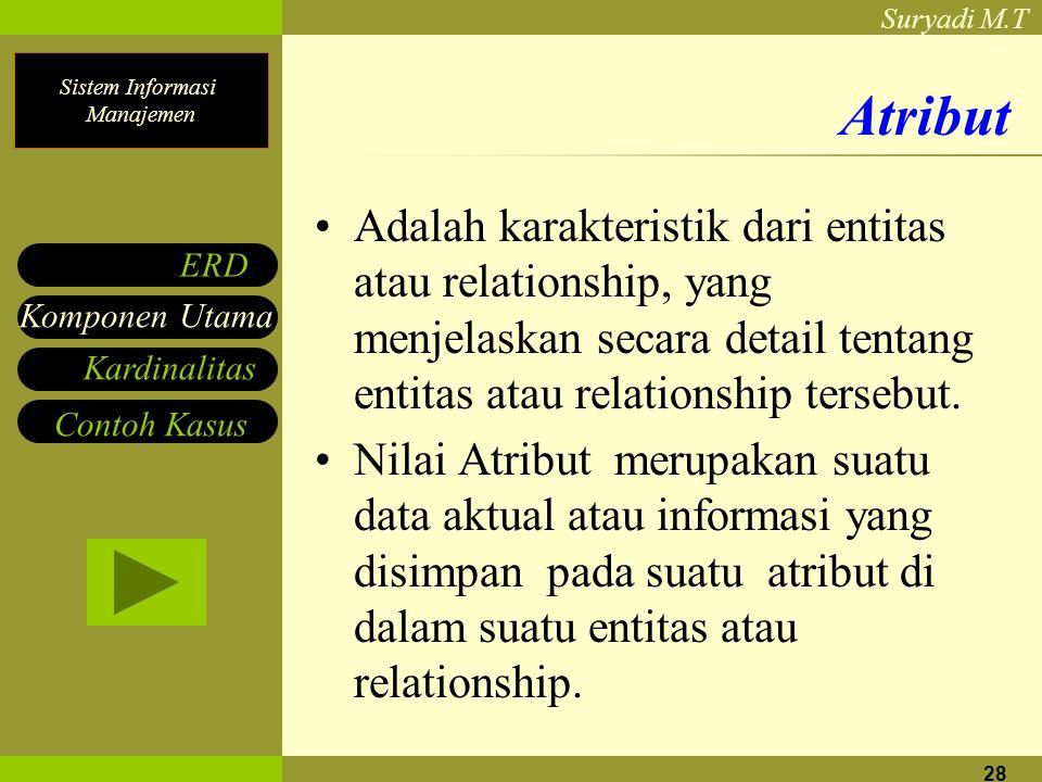 Sistem Informasi Manajemen Suryadi M.T 28 Atribut Adalah karakteristik dari entitas atau relationship, yang menjelaskan secara detail tentang entitas atau relationship tersebut.