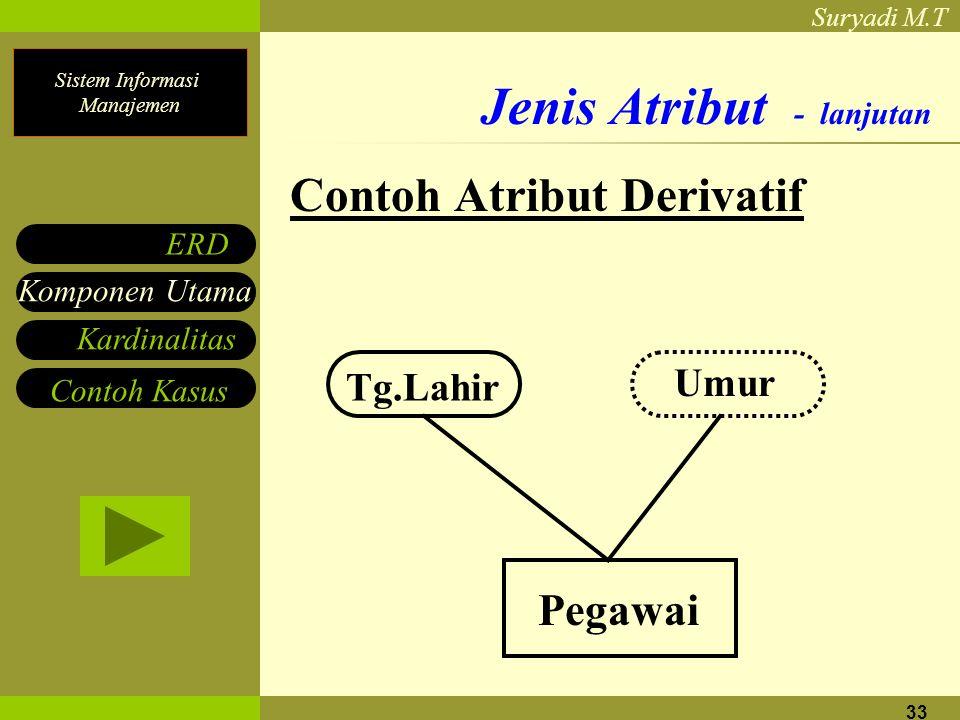 Sistem Informasi Manajemen Suryadi M.T 33 Jenis Atribut - lanjutan Contoh Atribut Derivatif Pegawai Tg.Lahir Umur Komponen Utama ERD Contoh Kasus Kard