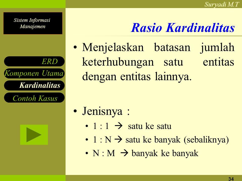 Sistem Informasi Manajemen Suryadi M.T 34 Rasio Kardinalitas Menjelaskan batasan jumlah keterhubungan satu entitas dengan entitas lainnya. Jenisnya :