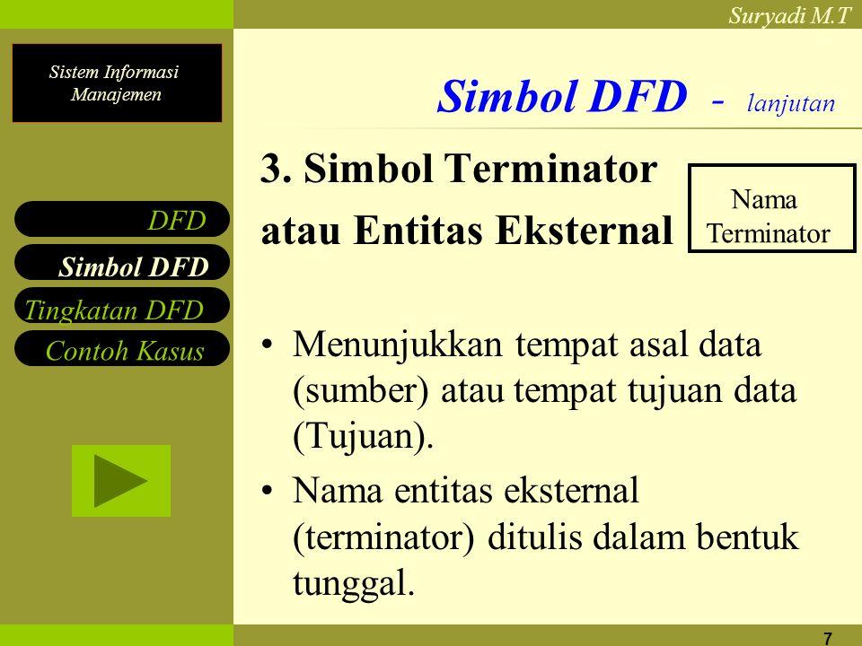 Sistem Informasi Manajemen Suryadi M.T 7 Simbol DFD - lanjutan 3. Simbol Terminator atau Entitas Eksternal Menunjukkan tempat asal data (sumber) atau