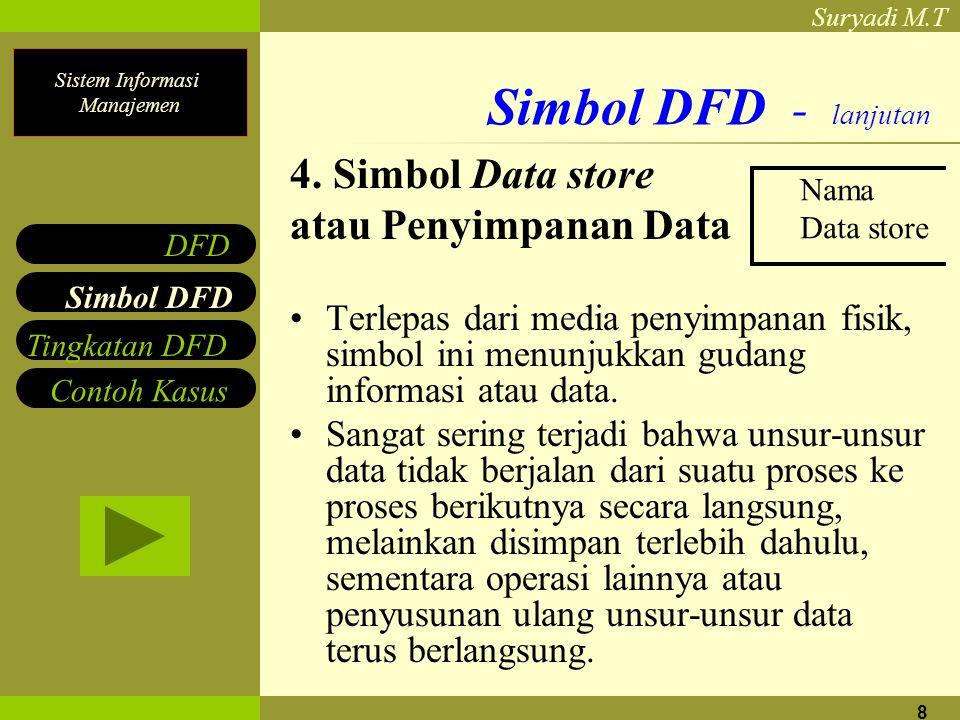 Sistem Informasi Manajemen Suryadi M.T 8 Simbol DFD - lanjutan 4. Simbol Data store atau Penyimpanan Data Terlepas dari media penyimpanan fisik, simbo