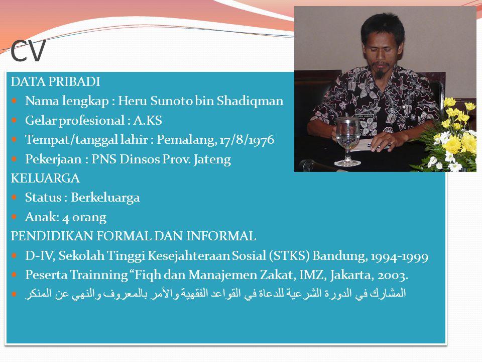 DATA PRIBADI Nama lengkap : Heru Sunoto bin Shadiqman Gelar profesional : A.KS Tempat/tanggal lahir : Pemalang, 17/8/1976 Pekerjaan : PNS Dinsos Prov.