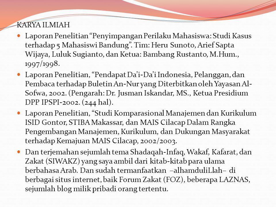 KARYA ILMIAH Laporan Penelitian Penyimpangan Perilaku Mahasiswa: Studi Kasus terhadap 5 Mahasiswi Bandung .