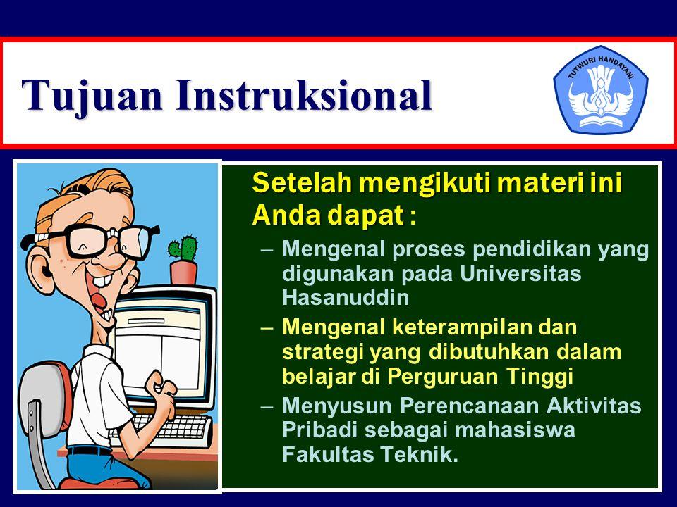 Tujuan Instruksional Setelah mengikuti materi ini Anda dapat Setelah mengikuti materi ini Anda dapat : –Mengenal proses pendidikan yang digunakan pada