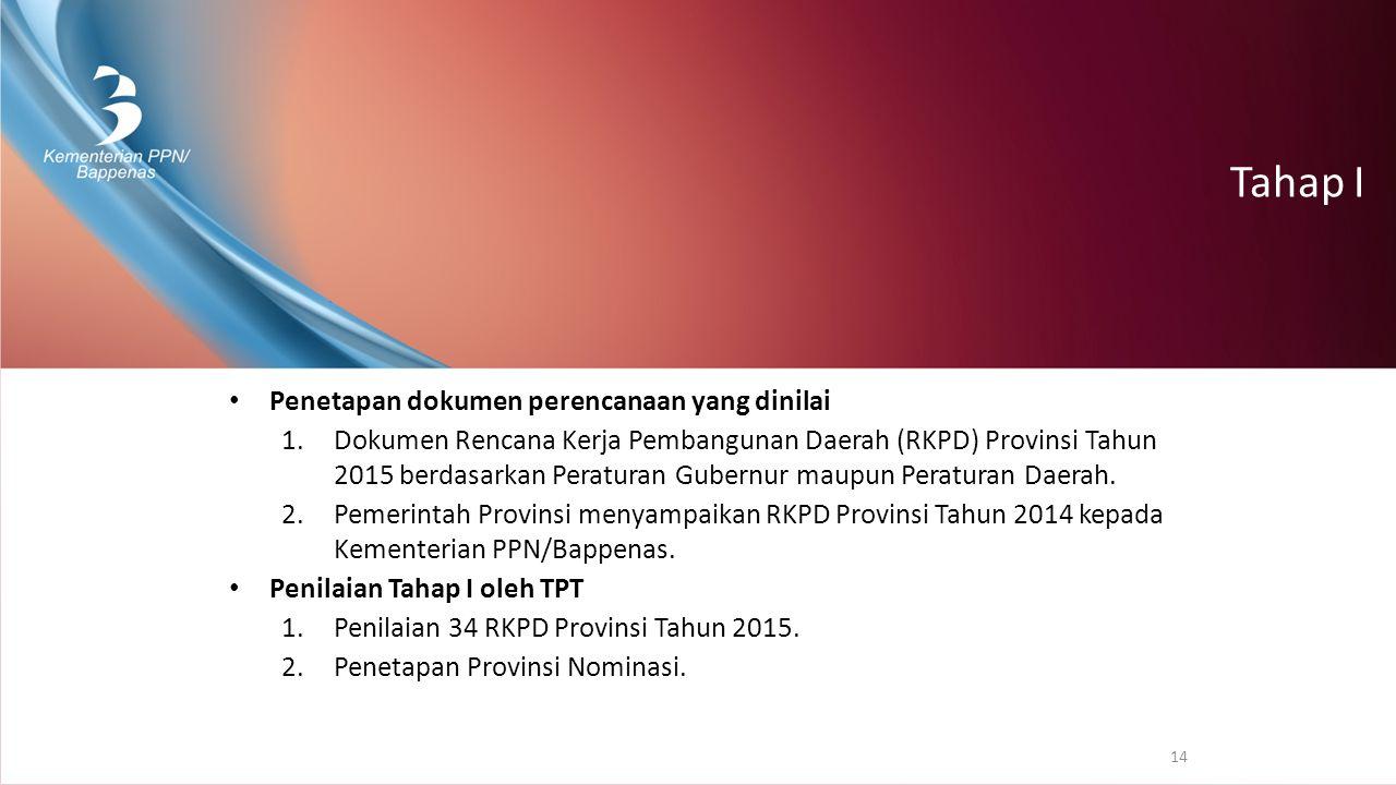 Tahap I Penetapan dokumen perencanaan yang dinilai 1.Dokumen Rencana Kerja Pembangunan Daerah (RKPD) Provinsi Tahun 2015 berdasarkan Peraturan Gubernu