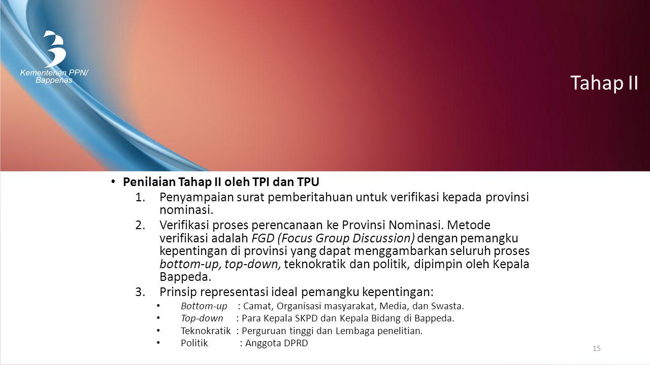 Tahap II Penilaian Tahap II oleh TPI dan TPU 1.Penyampaian surat pemberitahuan untuk verifikasi kepada provinsi nominasi. 2.Verifikasi proses perencan