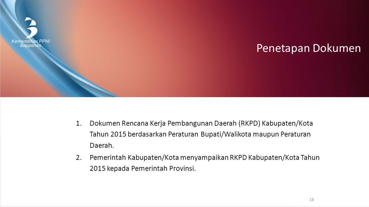 Penetapan Dokumen 1.Dokumen Rencana Kerja Pembangunan Daerah (RKPD) Kabupaten/Kota Tahun 2015 berdasarkan Peraturan Bupati/Walikota maupun Peraturan D