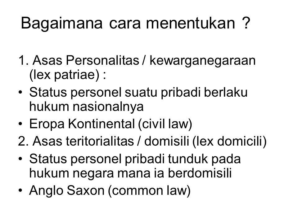 1. Asas Personalitas / kewarganegaraan (lex patriae) : Status personel suatu pribadi berlaku hukum nasionalnya Eropa Kontinental (civil law) 2. Asas t