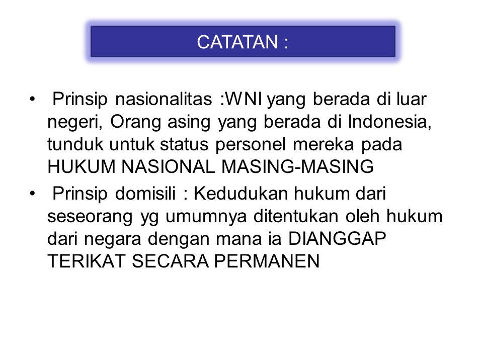 Prinsip nasionalitas :WNI yang berada di luar negeri, Orang asing yang berada di Indonesia, tunduk untuk status personel mereka pada HUKUM NASIONAL MA