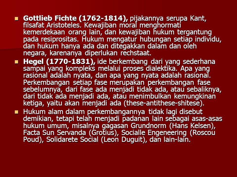 Gottlieb Fichte (1762-1814), pijakannya serupa Kant, filsafat Aristoteles.
