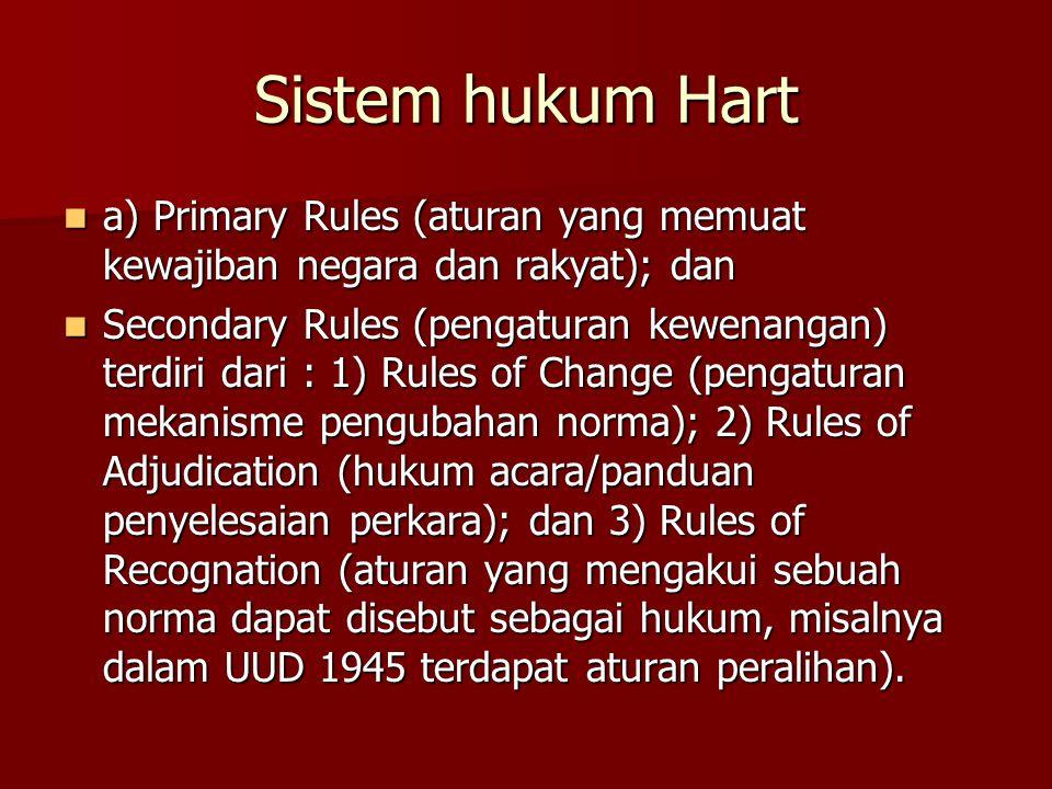 Sistem hukum Hart a) Primary Rules (aturan yang memuat kewajiban negara dan rakyat); dan a) Primary Rules (aturan yang memuat kewajiban negara dan rakyat); dan Secondary Rules (pengaturan kewenangan) terdiri dari : 1) Rules of Change (pengaturan mekanisme pengubahan norma); 2) Rules of Adjudication (hukum acara/panduan penyelesaian perkara); dan 3) Rules of Recognation (aturan yang mengakui sebuah norma dapat disebut sebagai hukum, misalnya dalam UUD 1945 terdapat aturan peralihan).