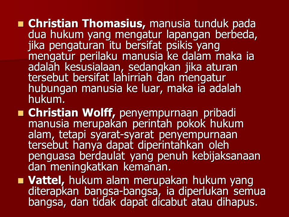 Christian Thomasius, manusia tunduk pada dua hukum yang mengatur lapangan berbeda, jika pengaturan itu bersifat psikis yang mengatur perilaku manusia