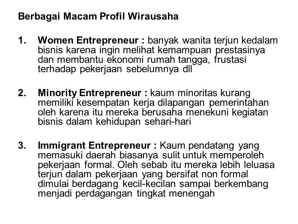 Berbagai Macam Profil Wirausaha 1.Women Entrepreneur : banyak wanita terjun kedalam bisnis karena ingin melihat kemampuan prestasinya dan membantu eko