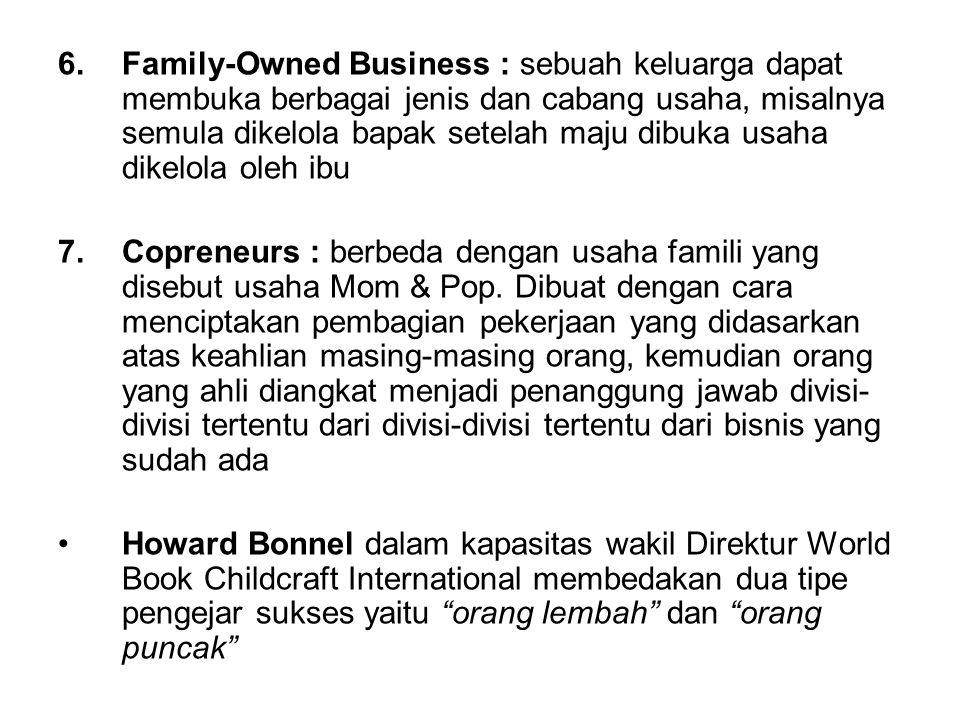 6.Family-Owned Business : sebuah keluarga dapat membuka berbagai jenis dan cabang usaha, misalnya semula dikelola bapak setelah maju dibuka usaha dike