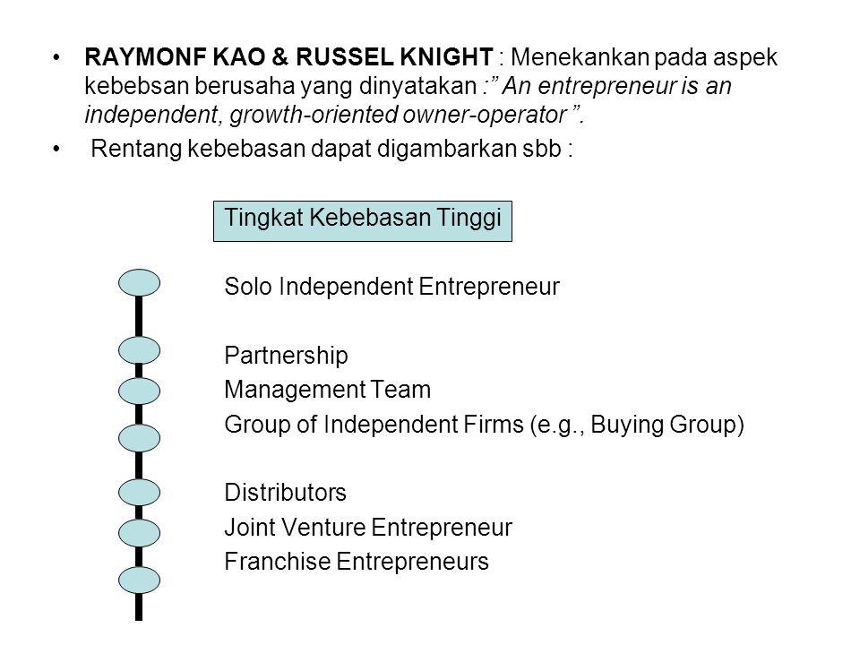 "RAYMONF KAO & RUSSEL KNIGHT : Menekankan pada aspek kebebsan berusaha yang dinyatakan :"" An entrepreneur is an independent, growth-oriented owner-oper"
