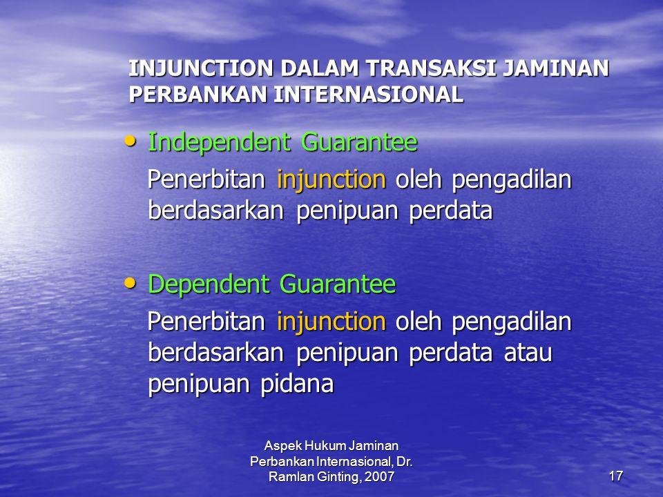 Aspek Hukum Jaminan Perbankan Internasional, Dr.