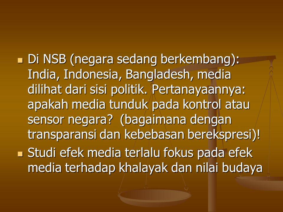 Di NSB (negara sedang berkembang): India, Indonesia, Bangladesh, media dilihat dari sisi politik.