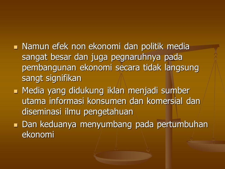Karakteristik ekonomi produk media Media menghasilkan dua produk: ISI DAN IKLAN Media menghasilkan dua produk: ISI DAN IKLAN ISI: MEDIA MASA MENJUAL ISI BERUPA INFORMASI DAN HIBURAN KEPADA KONSUMEN (media menarik khalAyak dan khalayak dapat dijual kepada pengiklan) ISI: MEDIA MASA MENJUAL ISI BERUPA INFORMASI DAN HIBURAN KEPADA KONSUMEN (media menarik khalAyak dan khalayak dapat dijual kepada pengiklan) MEDIA PUNYA OUTPUT/SUMBER PENDAPATAN: ISI DAN KHALAYAK (MUDAH DILIHAT) MEDIA PUNYA OUTPUT/SUMBER PENDAPATAN: ISI DAN KHALAYAK (MUDAH DILIHAT)