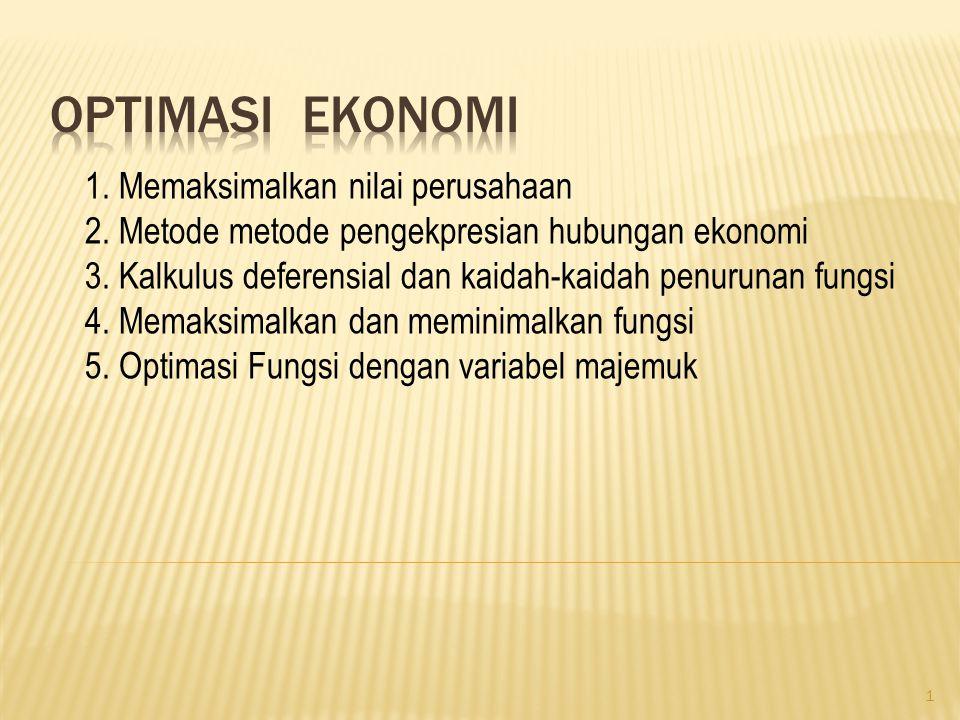 1.Memaksimalkan nilai perusahaan 2. Metode metode pengekpresian hubungan ekonomi 3.