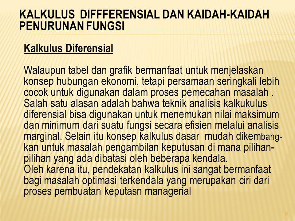 KALKULUS DIFFFERENSIAL DAN KAIDAH-KAIDAH PENURUNAN FUNGSI Kalkulus Diferensial Walaupun tabel dan grafik bermanfaat untuk menjelaskan konsep hubungan