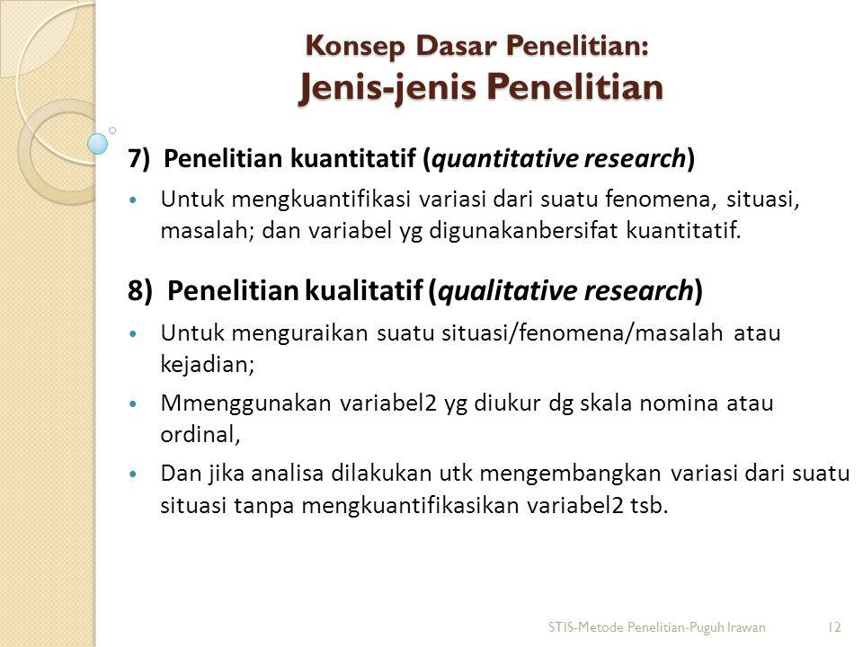 Konsep Dasar Penelitian: Jenis-jenis Penelitian 7) Penelitian kuantitatif (quantitative research) Untuk mengkuantifikasi variasi dari suatu fenomena,