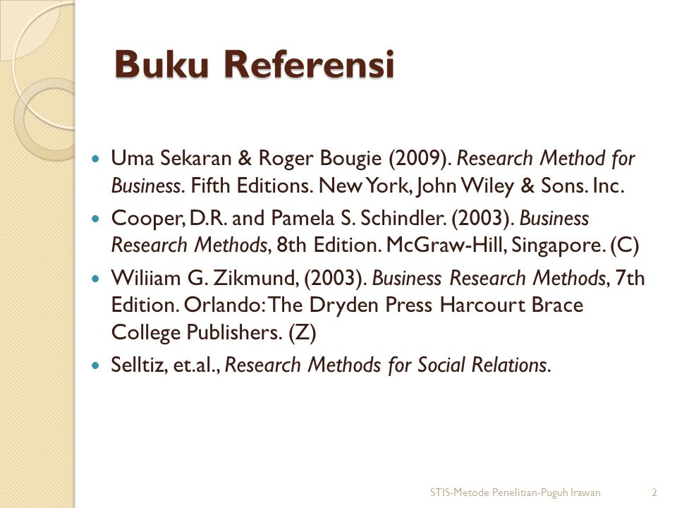 Buku Referensi Uma Sekaran & Roger Bougie (2009). Research Method for Business. Fifth Editions. New York, John Wiley & Sons. Inc. Cooper, D.R. and Pam