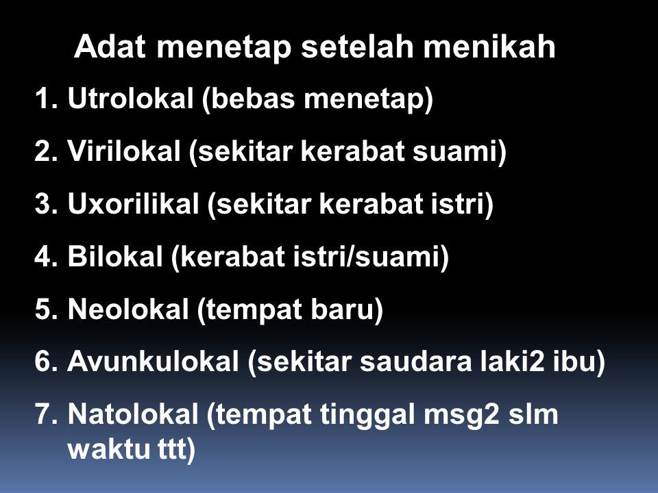 Adat menetap setelah menikah 1.Utrolokal (bebas menetap) 2.Virilokal (sekitar kerabat suami) 3.Uxorilikal (sekitar kerabat istri) 4.Bilokal (kerabat i