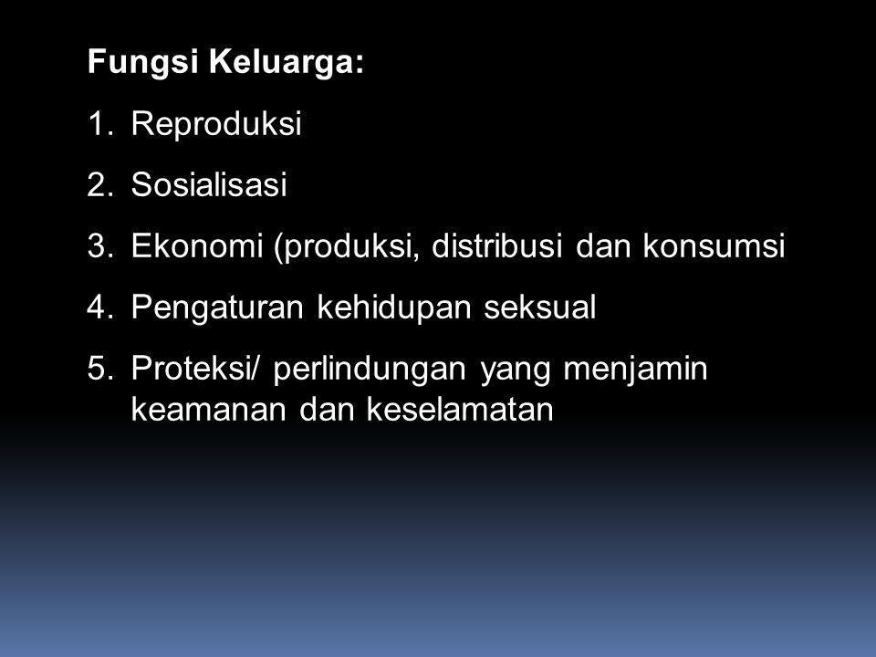 Fungsi Keluarga: 1.Reproduksi 2.Sosialisasi 3.Ekonomi (produksi, distribusi dan konsumsi 4.Pengaturan kehidupan seksual 5.Proteksi/ perlindungan yang
