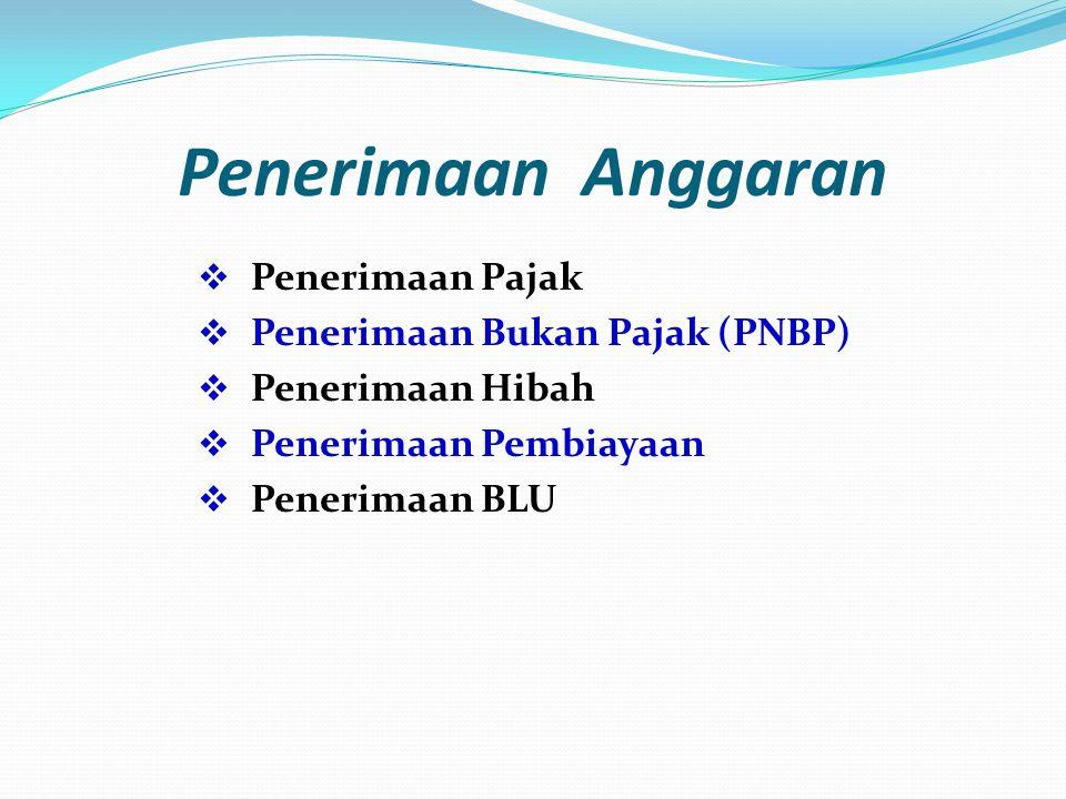 Penerimaan Anggaran  Penerimaan Pajak  Penerimaan Bukan Pajak (PNBP)  Penerimaan Hibah  Penerimaan Pembiayaan  Penerimaan BLU