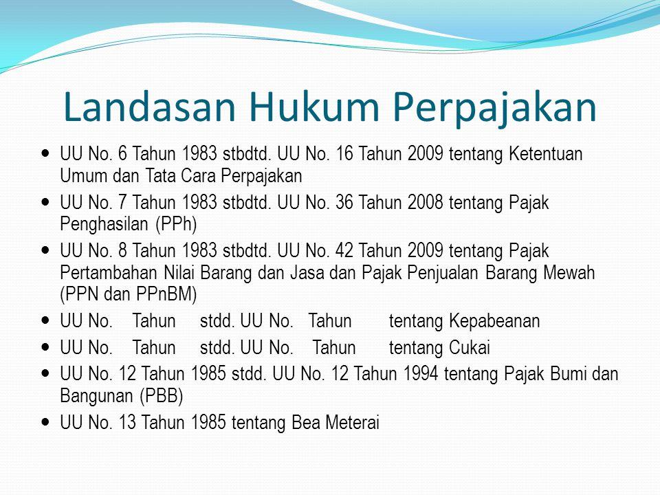 Landasan Hukum Perpajakan UU No. 6 Tahun 1983 stbdtd. UU No. 16 Tahun 2009 tentang Ketentuan Umum dan Tata Cara Perpajakan UU No. 7 Tahun 1983 stbdtd.