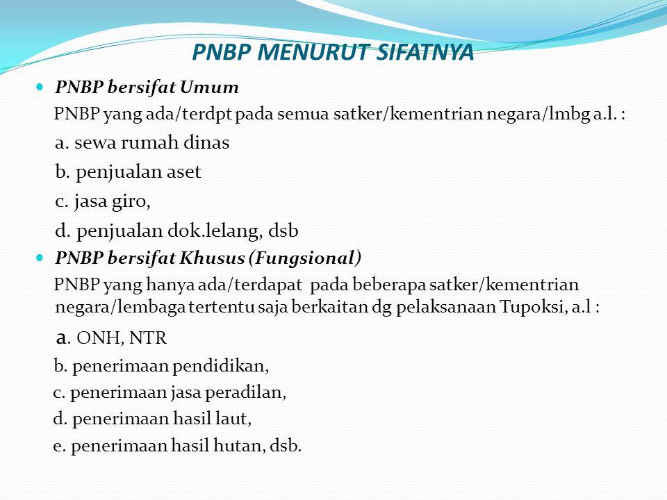 PNBP MENURUT SIFATNYA PNBP bersifat Umum PNBP yang ada/terdpt pada semua satker/kementrian negara/lmbg a.l. : a. sewa rumah dinas b. penjualan aset c.