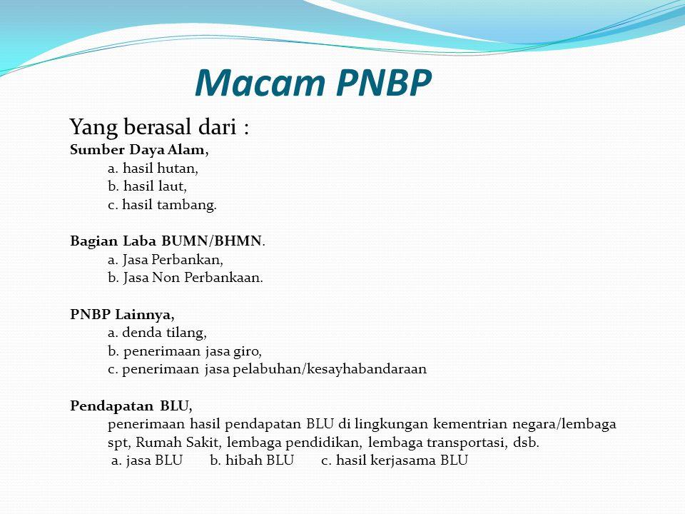 Macam PNBP Yang berasal dari : Sumber Daya Alam, a. hasil hutan, b. hasil laut, c. hasil tambang. Bagian Laba BUMN/BHMN. a. Jasa Perbankan, b. Jasa No