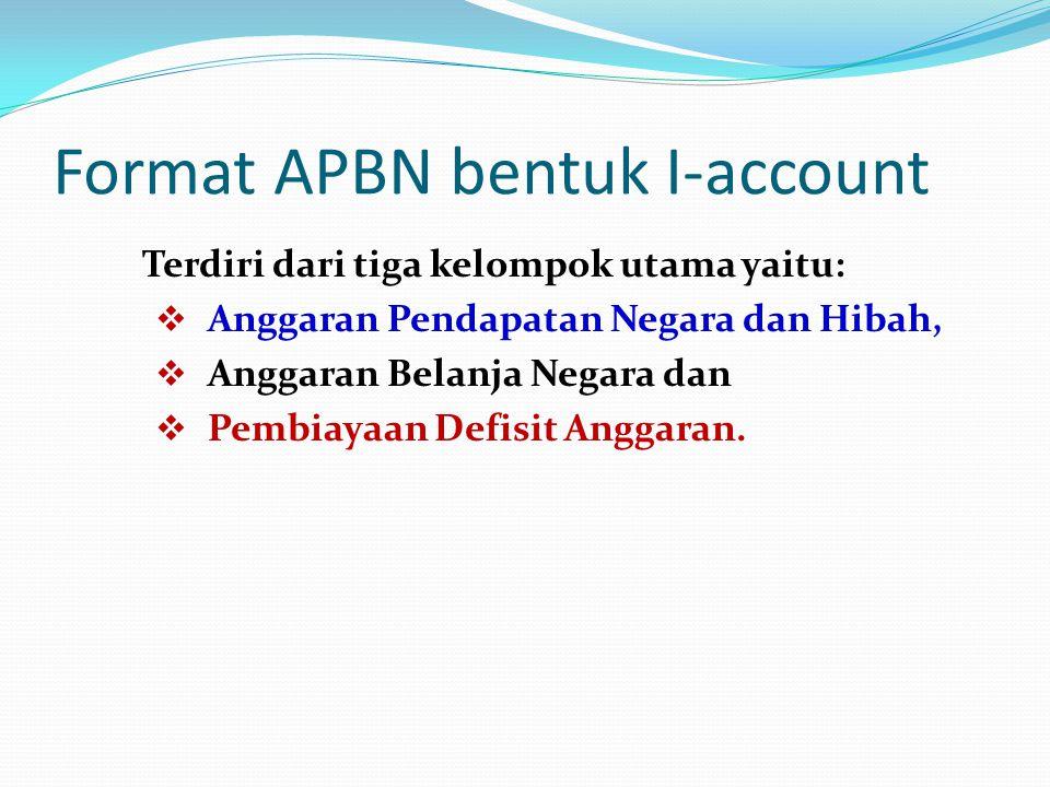 Format APBN bentuk I-account Terdiri dari tiga kelompok utama yaitu:  Anggaran Pendapatan Negara dan Hibah,  Anggaran Belanja Negara dan  Pembiayaa