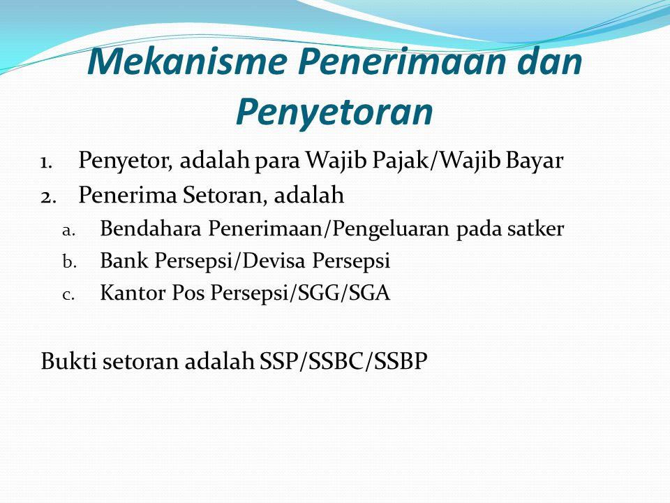 Mekanisme Penerimaan dan Penyetoran 1. Penyetor, adalah para Wajib Pajak/Wajib Bayar 2. Penerima Setoran, adalah a. Bendahara Penerimaan/Pengeluaran p