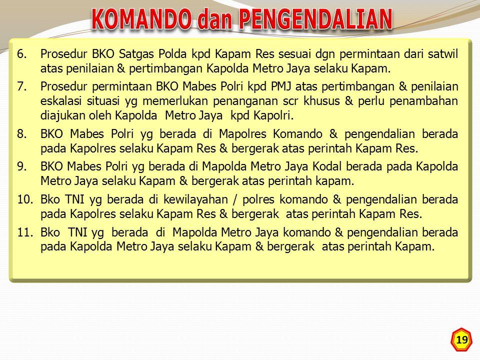 19 6.Prosedur BKO Satgas Polda kpd Kapam Res sesuai dgn permintaan dari satwil atas penilaian & pertimbangan Kapolda Metro Jaya selaku Kapam. 7.Prosed