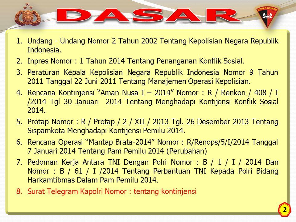 2 1.Undang - Undang Nomor 2 Tahun 2002 Tentang Kepolisian Negara Republik Indonesia. 2.Inpres Nomor : 1 Tahun 2014 Tentang Penanganan Konflik Sosial.