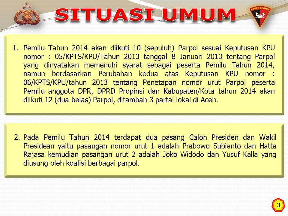 3 1.Pemilu Tahun 2014 akan diikuti 10 (sepuluh) Parpol sesuai Keputusan KPU nomor : 05/KPTS/KPU/Tahun 2013 tanggal 8 Januari 2013 tentang Parpol yang