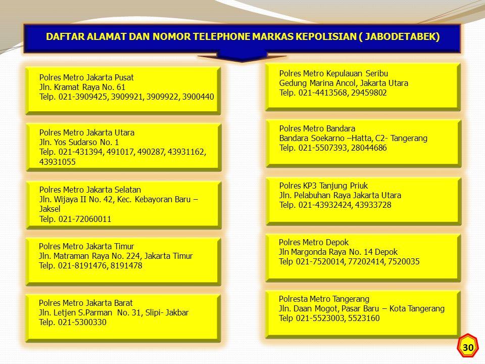 Polres Metro Jakarta Pusat Jln. Kramat Raya No. 61 Telp. 021-3909425, 3909921, 3909922, 3900440 DAFTAR ALAMAT DAN NOMOR TELEPHONE MARKAS KEPOLISIAN (