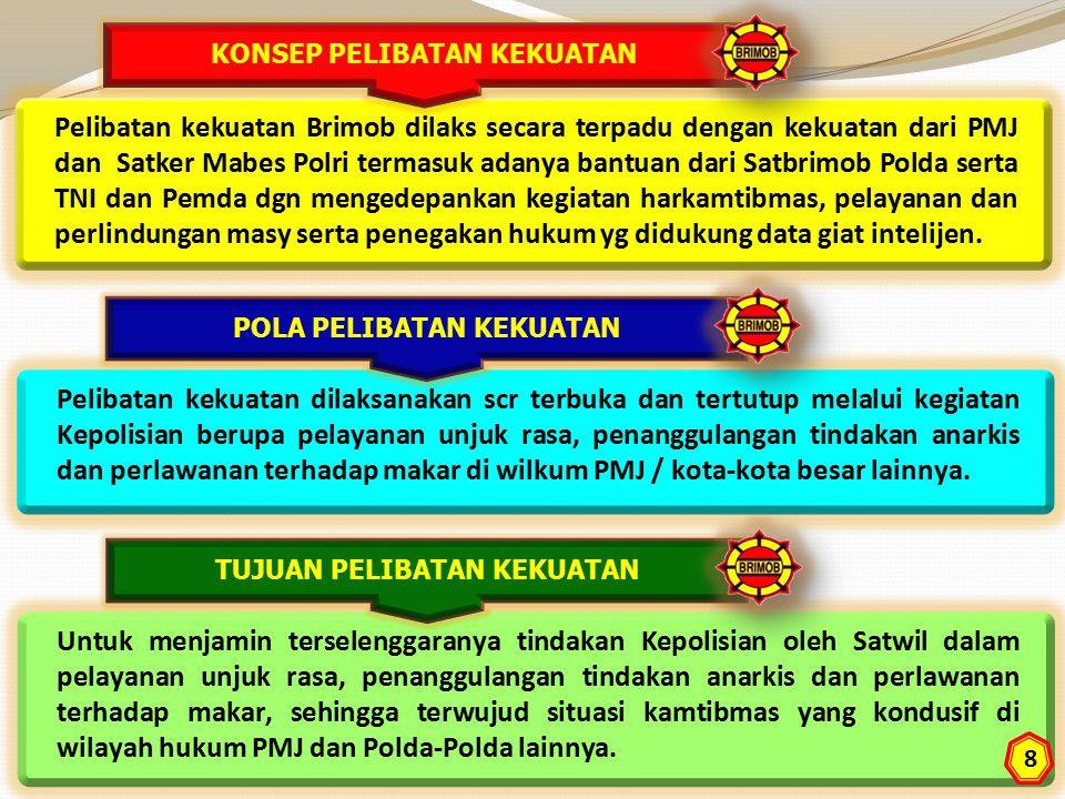 Pelibatan kekuatan Brimob dilaks secara terpadu dengan kekuatan dari PMJ dan Satker Mabes Polri termasuk adanya bantuan dari Satbrimob Polda serta TNI