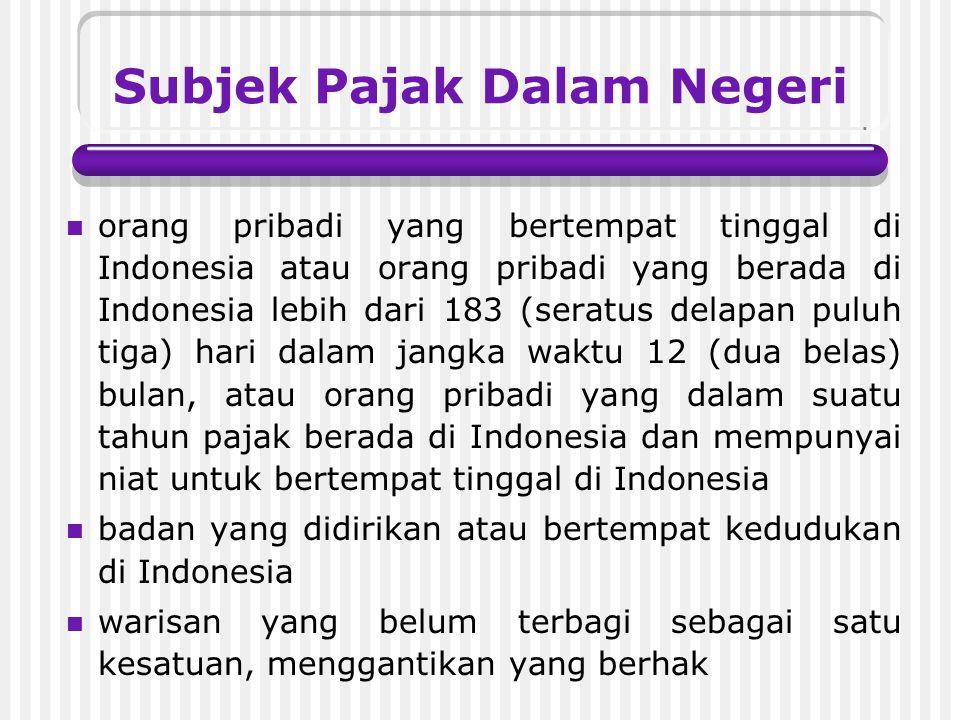 Jenis Subjek Pajak Subjek Pajak Dalam Negeri Subjek Pajak Luar Negeri