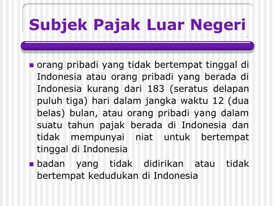 Subjek Pajak Dalam Negeri orang pribadi yang bertempat tinggal di Indonesia atau orang pribadi yang berada di Indonesia lebih dari 183 (seratus delapa
