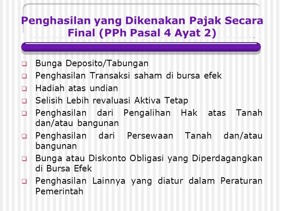 Karakteristik Penghasilan yang dikenakan PPh final tidak perlu digabungkan dengan penghasilan lain (yang non final) dalam penghitungan Pajak Penghasil