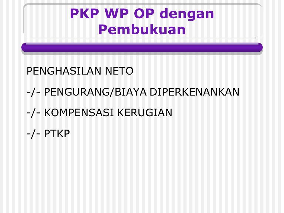 Penentuan PKP bagi WP OP Metode Pembukuan Metode Pencatatan (Norma Penghitungan)