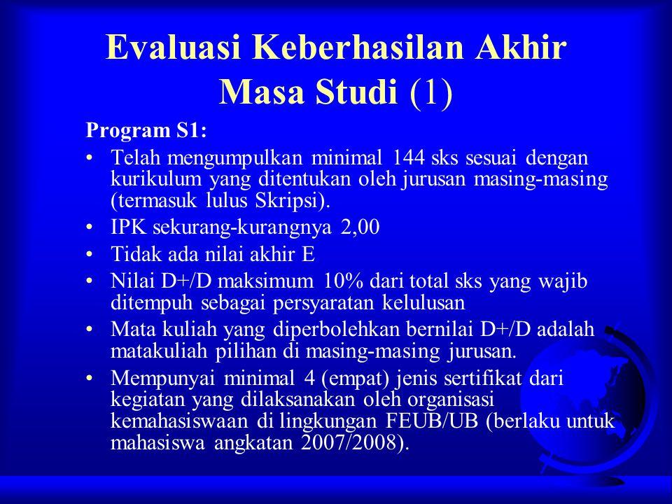 Evaluasi Keberhasilan Akhir Masa Studi (1) Program S1: Telah mengumpulkan minimal 144 sks sesuai dengan kurikulum yang ditentukan oleh jurusan masing-