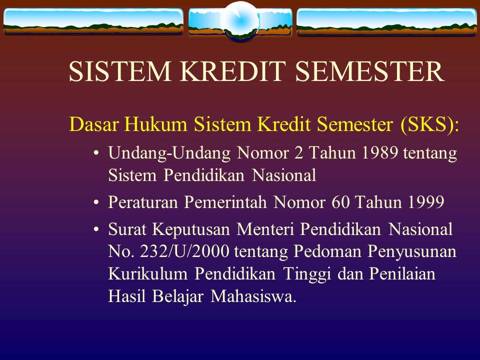 SISTEM KREDIT SEMESTER Dasar Hukum Sistem Kredit Semester (SKS): Undang-Undang Nomor 2 Tahun 1989 tentang Sistem Pendidikan Nasional Peraturan Pemerin